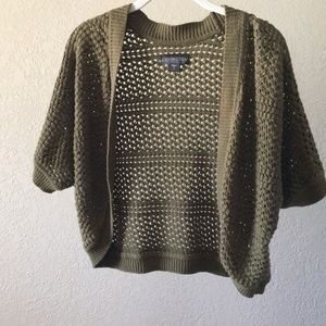 Olive Green Knitted Shrug